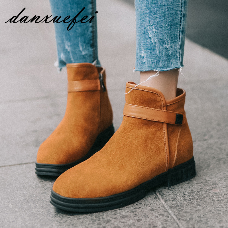 Women's Genuine Suede Leather Metal Buckle Winter Flats Ankle Boots Brand Designer Round Toe Leisure Comfort Short Booties Shoes front lace up casual ankle boots autumn vintage brown new booties flat genuine leather suede shoes round toe fall female fashion