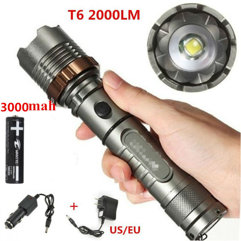 2000Lumen Adjustable Zoom XML T6 Tactical LED Flashlight Torch Lamp + 1x18650 Battery+Car charger+DC charger high lumen led flashlight 4 2v cree xml t6 2 18650 battery 5 modes focalize flash lamp 2 18650 batteries battery charger
