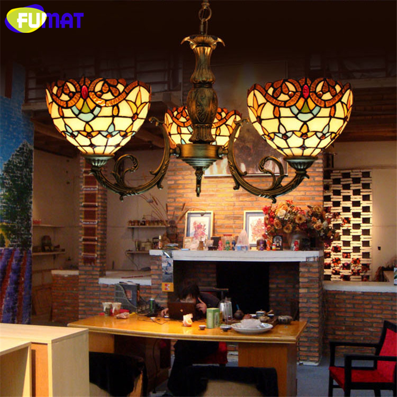FUMAT Baroque Glass Lamp Retro Stained Glass Pendant Light For Living room Corridor Light Bedroom Vitrage Mosaic glass Lamp fumat stained glass roses lightings modern art pendant light for living room restaurant lamp european style pendant lamp lights