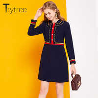 Trytree Summer Ruffles Dress Casual Polyester Patchwork Mini women Dresses Peter pan Collar Office Lady Casual Straight Dress