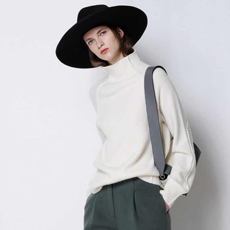 Осенне-зимний кашемировый свитер с высоким воротником, Женский вязаный свитер, толстый свободный шерстяной свитер, повседневный Женский пуловер