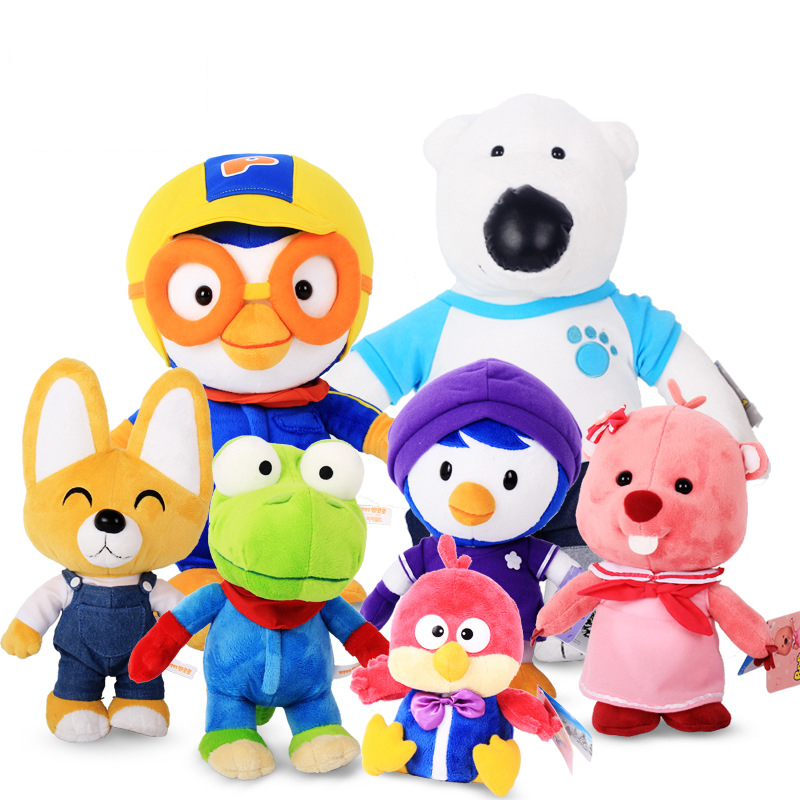 Korea Pororo Little Penguin Plush Toys Doll Pororo and His Friends Plush Soft Stuffed Animals Toys Gift for Children Kids 30cm cute korea pororo little penguin plush toys doll pororo with glasses plush soft stuffed animals toys for children kids gift