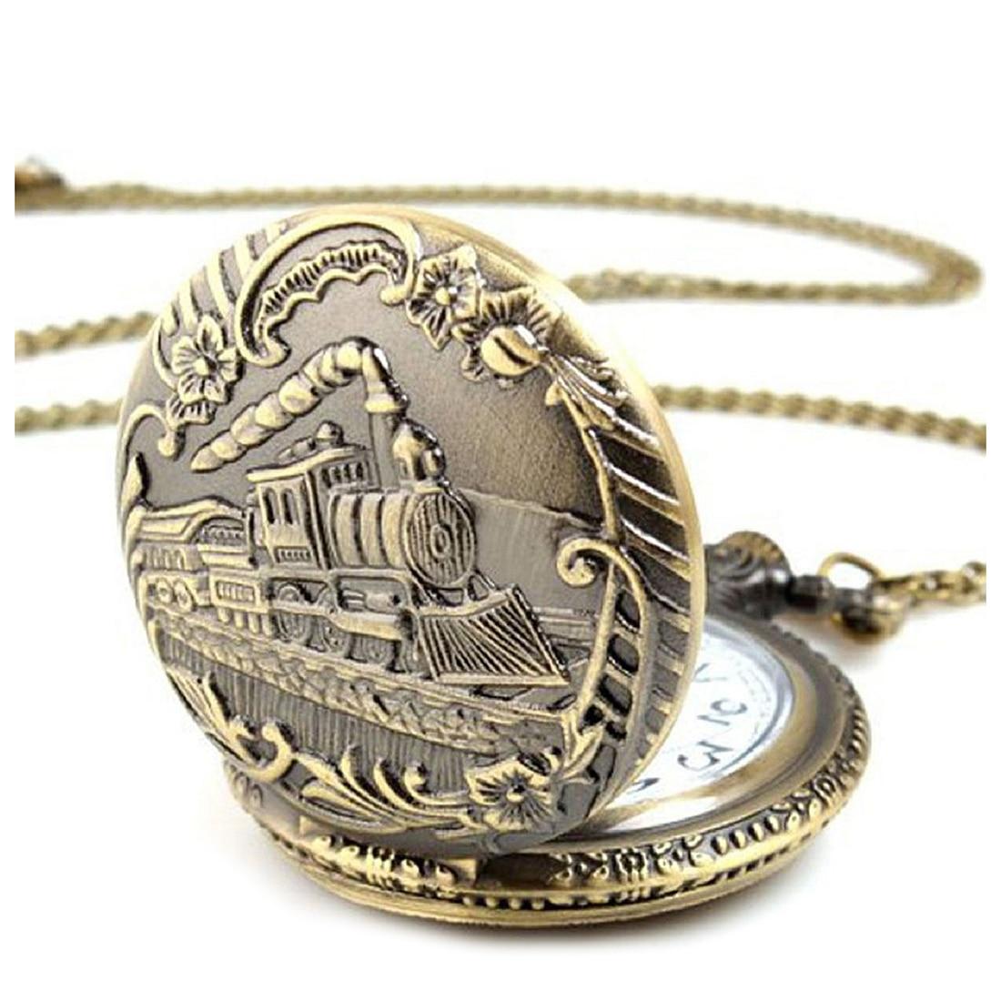 Unisex Antique Vintage Brass Locomotive Chain Pocket Watch Train Bronze