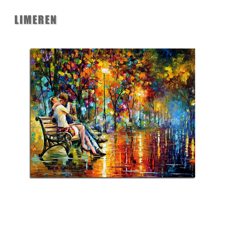 Unframed Couple Kissing Street View Abstract Painting By Numbers Benches And Rows Of Trees Coloring By Numbers