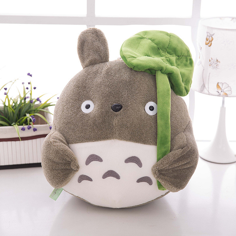 25cm TV Movie Character  Lovely Plush Toy My Neighbor Totoro Plush Toy Cute Soft Doll Totoro with Lotus Leaf Kids Toys Cat Gift13
