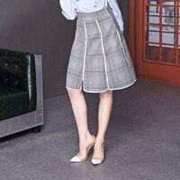 2018 New Pattern Fashion Lattice Half Body Skirt A Line Saias Knee Length
