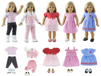 Lot 10 Item=5 Set Doll Clothes+5 Pair Shoes for 18 Inch American Doll Doll Handmade Casual Wear Outfit