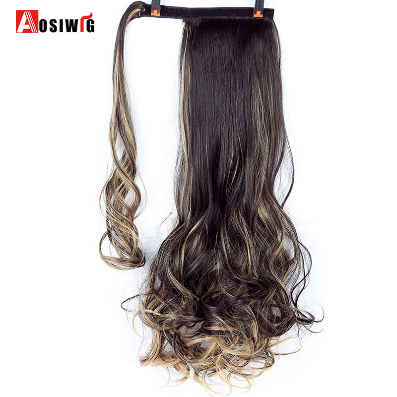 AOSIWIG 20 100g Long Wavy Synthetic High Temperature Fiber Wrap Around Hairpieces Fake Hair Ponytail Extensions