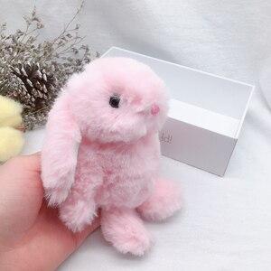 Image 4 - 새 도착 귀여운 부드러운 솜털 토끼 박제 동물 토끼 장난감 패션 인형 아기 소녀 키즈 선물 동물 인형 키 체인