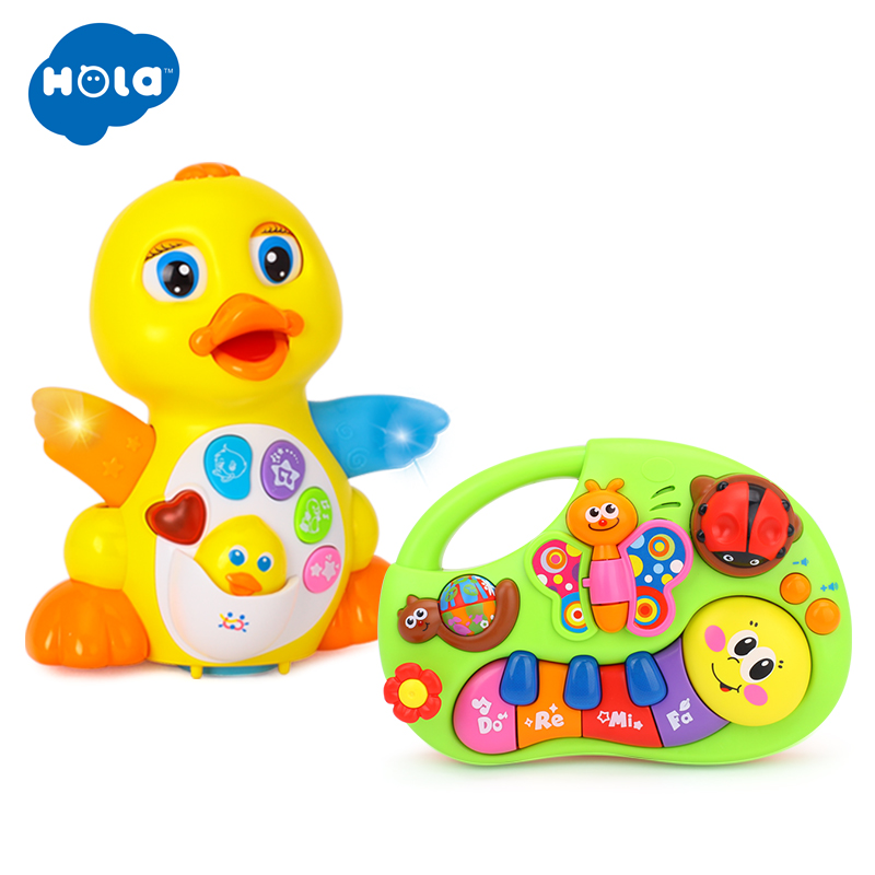 HOLA 808 + 927 Dancing Duck Toy Figure Action Toy With Flashing Lights & Electric Piano Baby Toys 927& 808