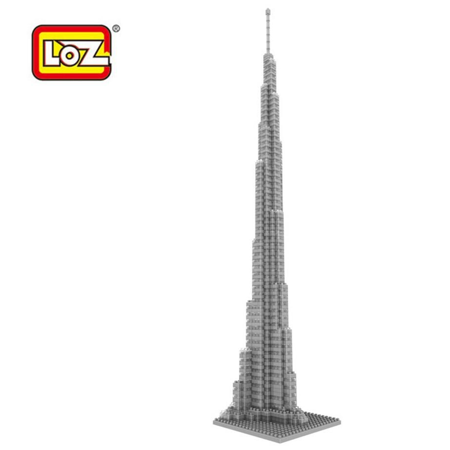 LOZ world Famous architecture mini diamond building block Dubai United Arab Emirates Burj Khalifa Tower nanoblock model toys world famous architecture brandenburg gate berlin germany mini diamond building block loz nanoblock assemblage diy toys for kid