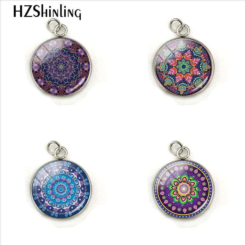 Purple Mandala Flowers Pictures Hand Craft Jewelry Stainless Steel Plated Charms Pendant Fashion Accessory