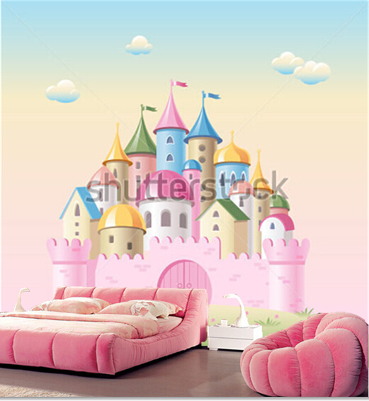 Custom de parede infantil papel cartoon fairy tale castle for Papel pared infantil