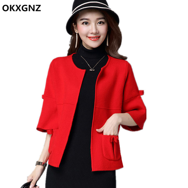 Women Short Knitting Cardigan Sweater 2017 Spring Style Fashion Pocket Speaker Sleeves Sweater Coat  Plus Size Casual Tops AH239