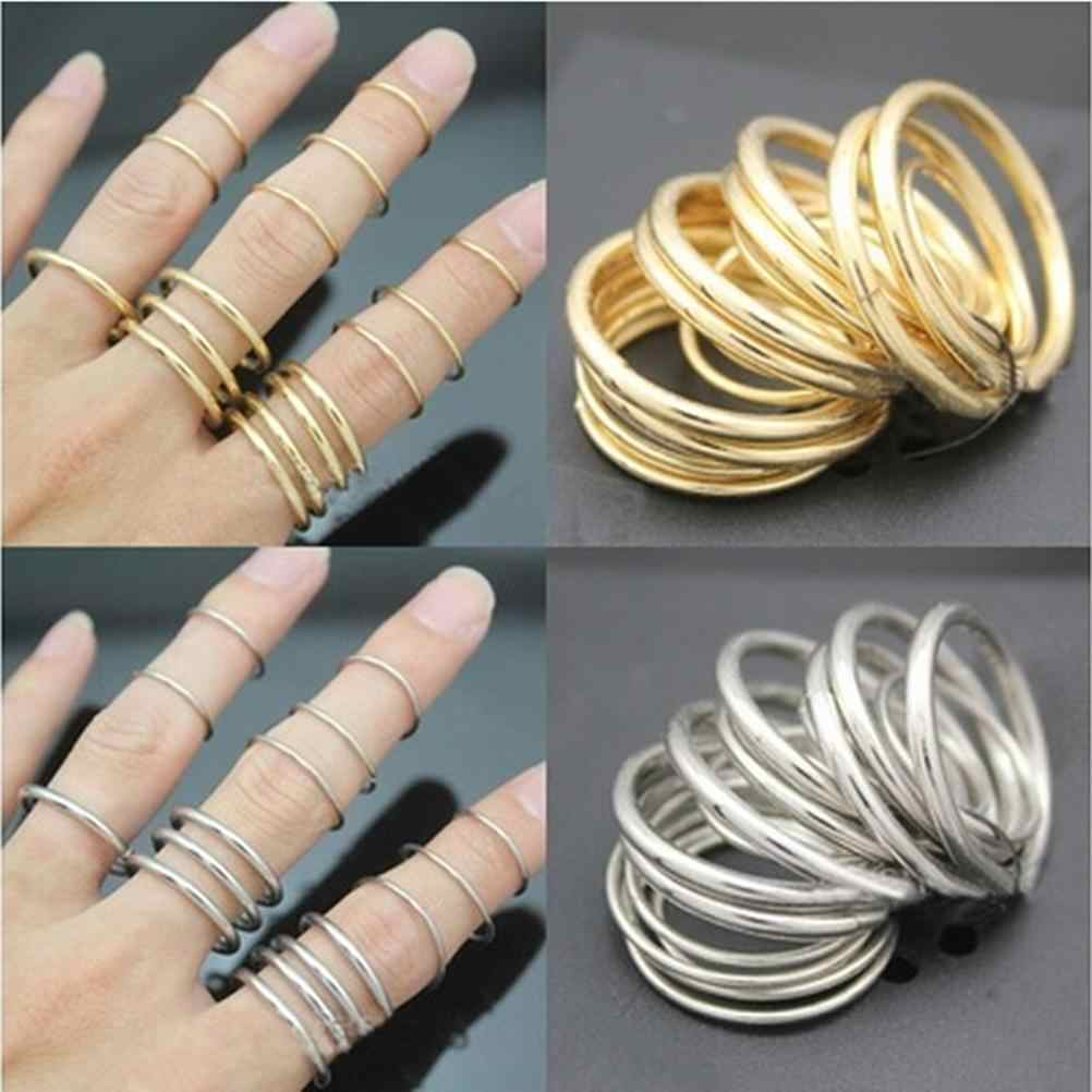 16pcs/Set  Punk Stackable Plain Band Above Knuckle Midi Finger Thin Rings  Bijou Statement Jewelry Minimalist