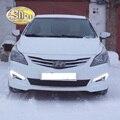 С Автоматическим Желтым Поворотном Функции!! Водонепроницаемый ABS Крышка 12 В Автомобилей DRL СВЕТОДИОДНЫМИ Фарами Дневного Света Для Hyundai Solaris 2014 2015 2016