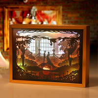 Paper Cutting Light And Shadow Art Lights LED Nightlights 3D Carved Wall Lamp Kid Cartoon Light