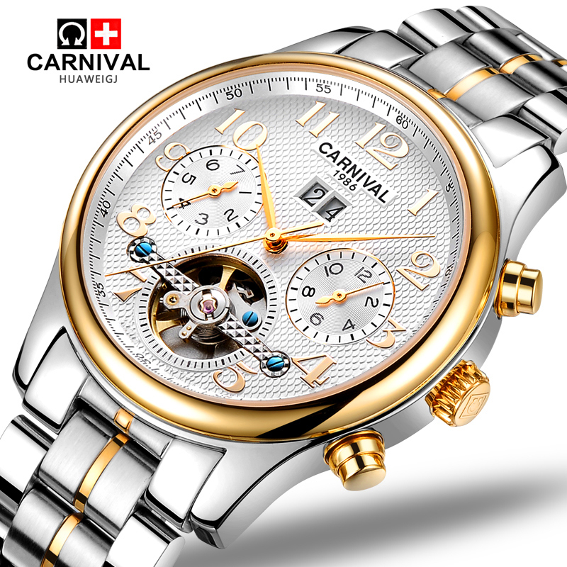 Carnival tourbillon waterproof Watch Men silver Stainless steel Sapphire Automatic Mechanical date Watch relogio masculine стоимость