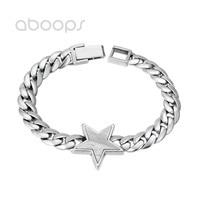 Plain 925 Sterling Silver Star Charm Bracelet for Men Boys 9 mm 20 cm Free Shipping