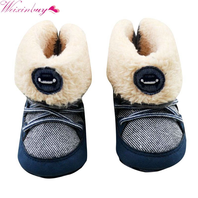 Baby Boy Prewalker Soft Snow Boots Faux Fur Lace Up Toddler Boots Shoe 0 18M Hot Sale in First Walkers from Mother Kids