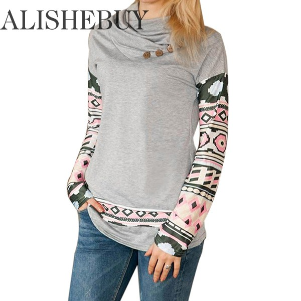 2016 New Women Cowl Neck Long Sleeve Print Patchwork Button Pullover Fashion Hoodies Woman Sweatshirts