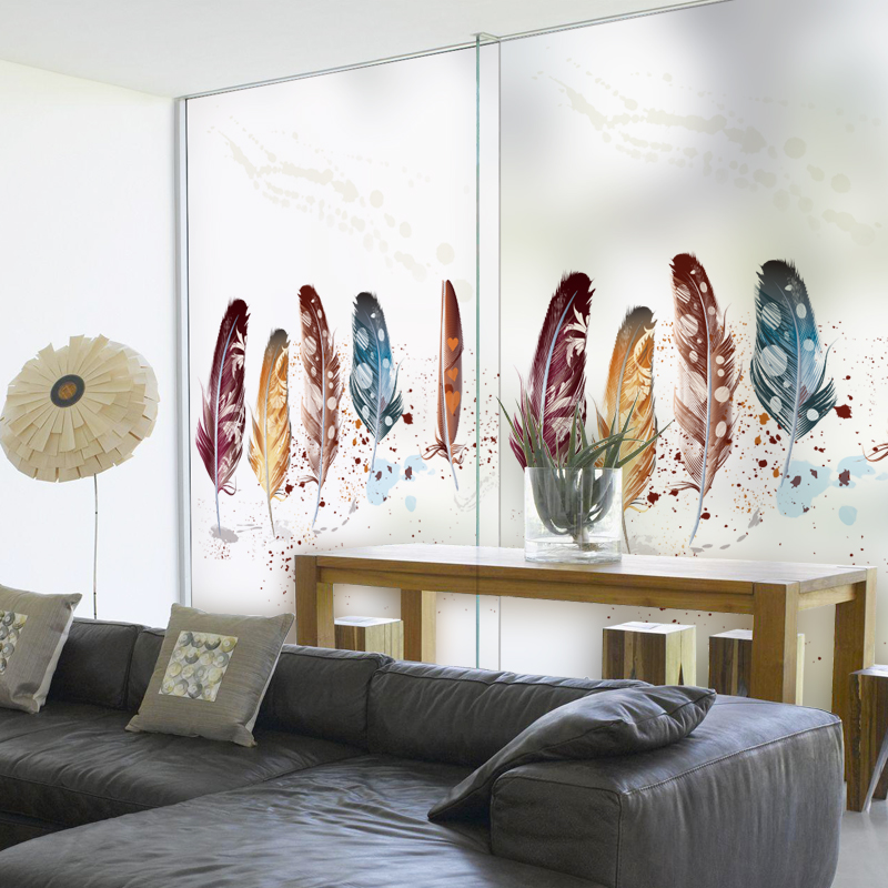 Static Cling Stained Glass Window Film Frosted & Opaque Privacy Home Decor Digital print Removable BLT315 Colorful Feather