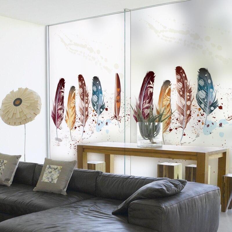 Statique S'accrochent Vitrail Fenêtre Film Givré et Opaque Vie Privée Home Decor Numérique impression Amovible BLT315 Coloré Plume
