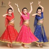 Belly Dance Costume Children Bollywood Dance Costumes Set Indian Bollywood Kids Dresses 5pcs (Headpieces Veil Top Belt Skirt)