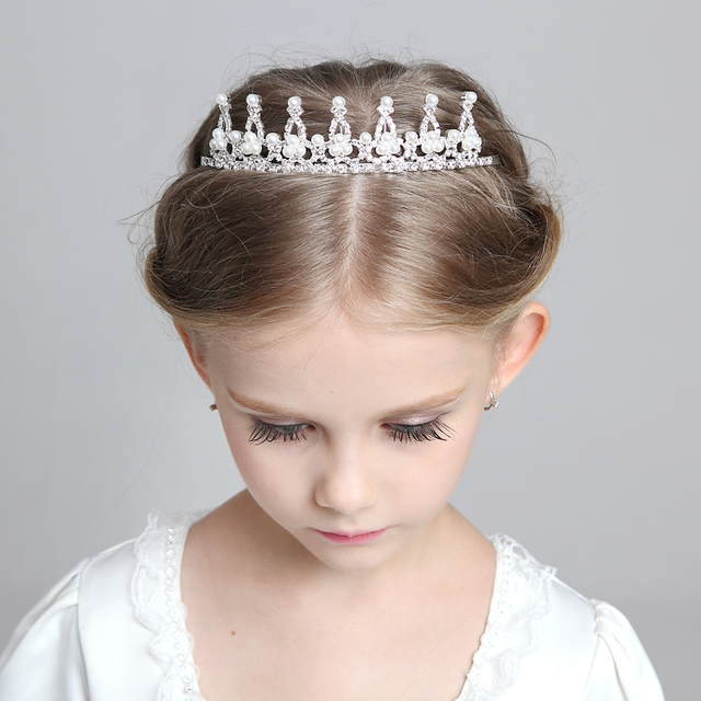 White Imitation Pearls Princess Crown Tiara Flower Girls Tiara