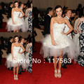 Miranda Kerr Sexy Charming White Sweetheart Flower Accented Tulle Celebrity Gown Evening Dress CD047