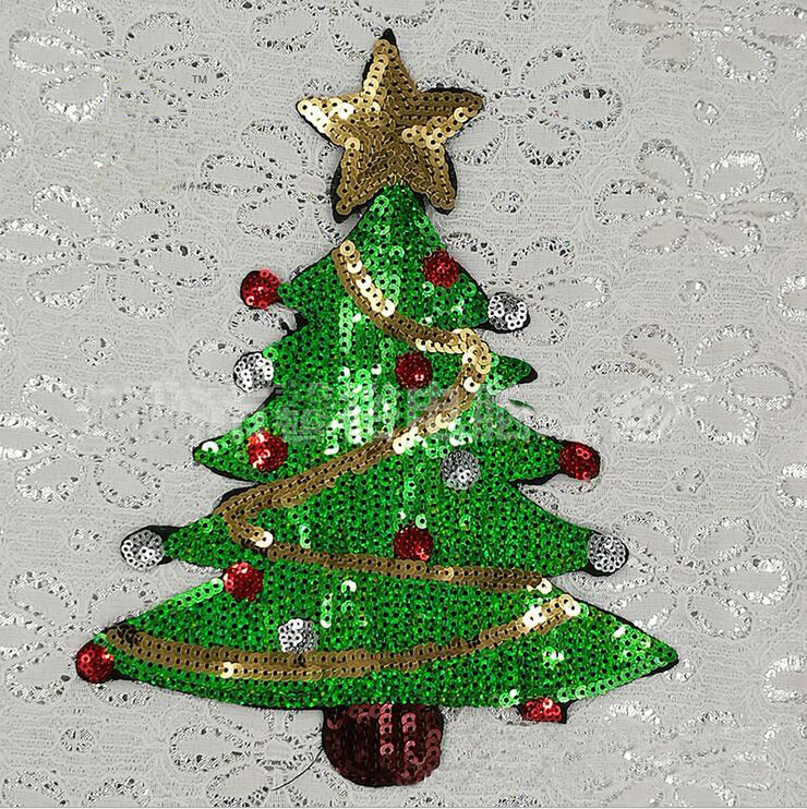 Christmas Tree Patch: Cartoon Sequins Christmas Trees Patch Sequined Appliqued