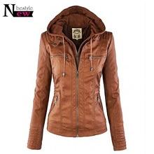 Newbestyle Women Faux Leather Hooded Jacket Female Slim Fit Short Motorcycle Jacket Zipper Pocket Coat Warm Outerwear Blusa Gift