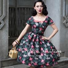 FREE SHIPPING Le Palais Vintage 2016 Summer New Bow O Neck Short Sleeve High Waist Printing Leaves Tutu Dress Women Vestidos