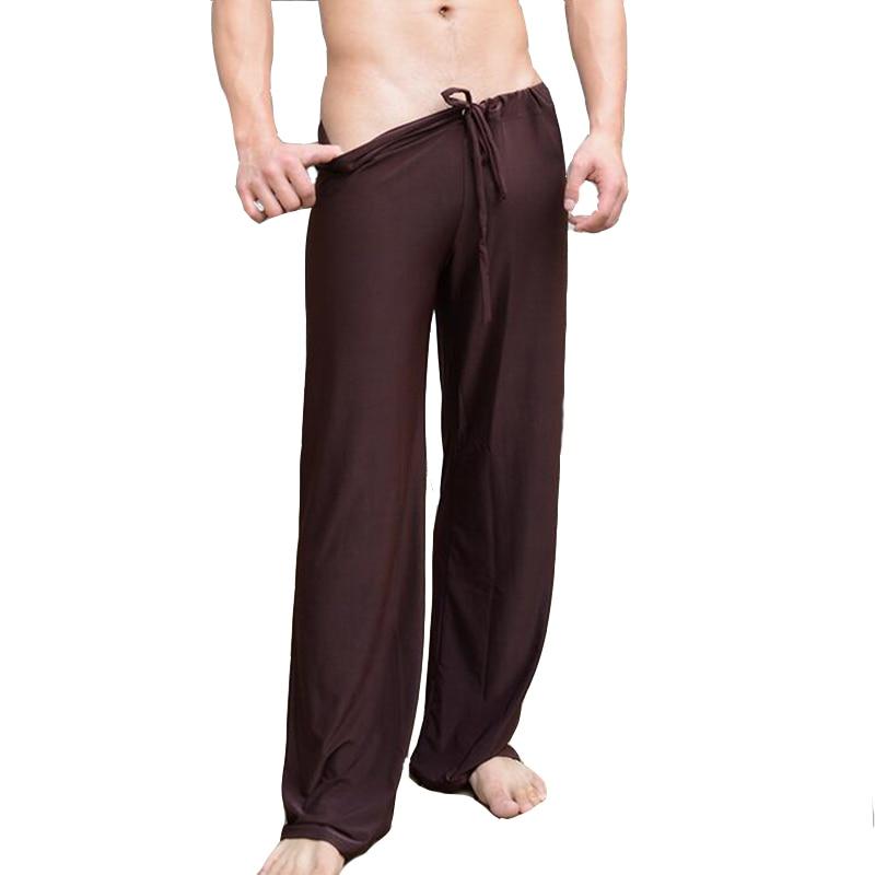 KWAN.Z Pajamas For Men Sexy Tie Leggings Comfortable Home Sleepwear Leisure Wide Feet Pajamas Male Sleep Bottom Roupas