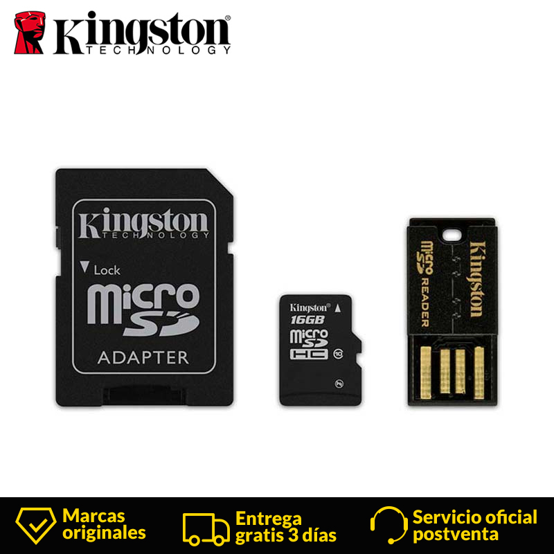 Kingston Technology MBLY10G2 Class 10 MicroSDHC 16GB 10 MB/s FCR MRG2 Micro SD USB 2.0 mini Flash adaptador 25 mm SD Card Reader-in Memory Cards from Computer & Office