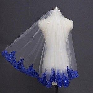 Image 3 - Royal Blue Lovertjes Lace Wit Ivoor Bruidssluier Een Laag Korte Shine Bruiloft Sluier met Kam Velos de Novia