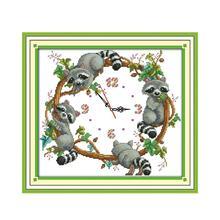 New Arrival Joy Sunday DIY Wall Clock Cute Little Raccoons Cross Stitch