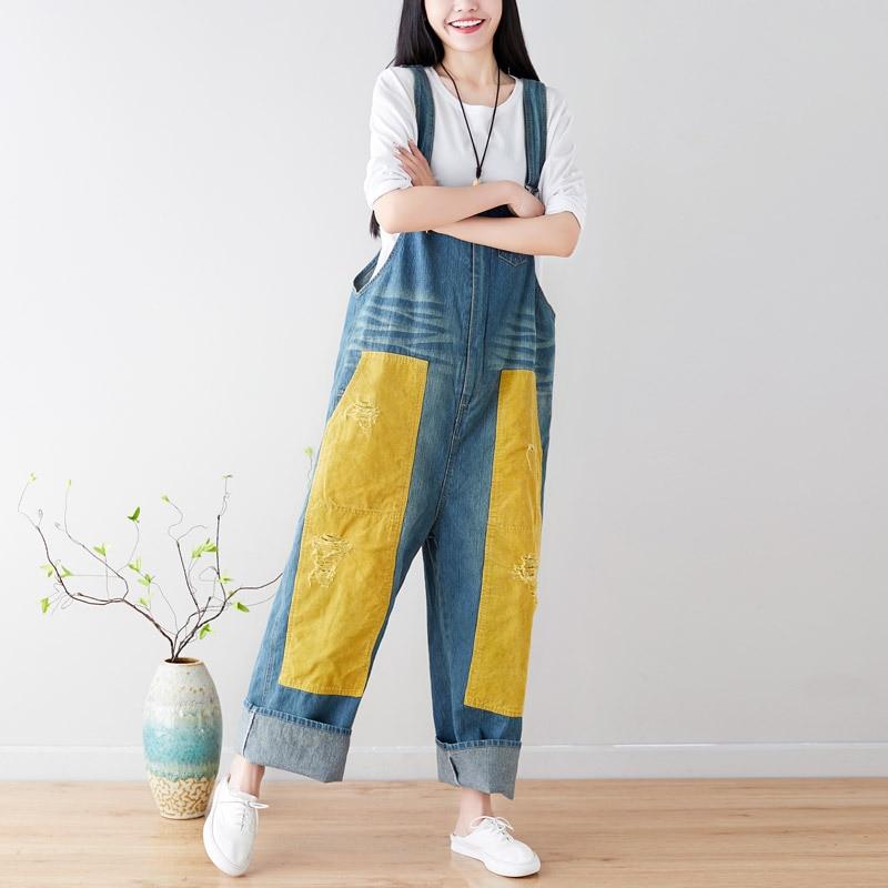 Denim De 2 Tamaño Vaqueros 2019 1 Nuevo Moda Mono Femme Mujer Coreana Alta Vintage Agujeros Más Combinaison Prendas Cintura 0qwqf7xHU