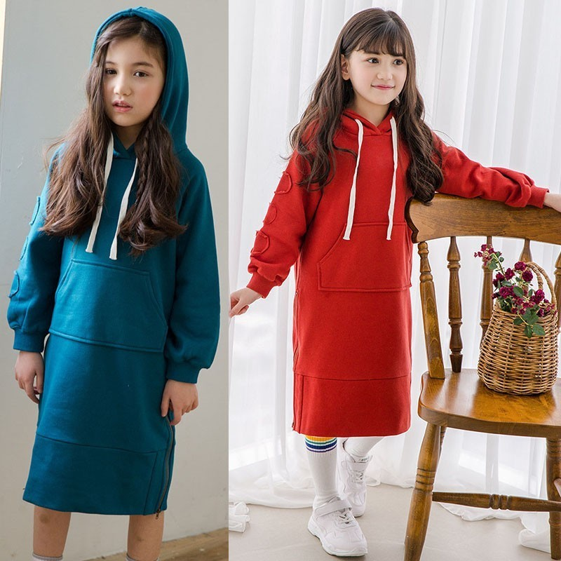 Pockets Teenage Girls Dress Autumn 2020 Winter Spring Patchwork Long Hoodies Dresses For Girls Age 11 12 14 15 17 9 7 5 2 Years