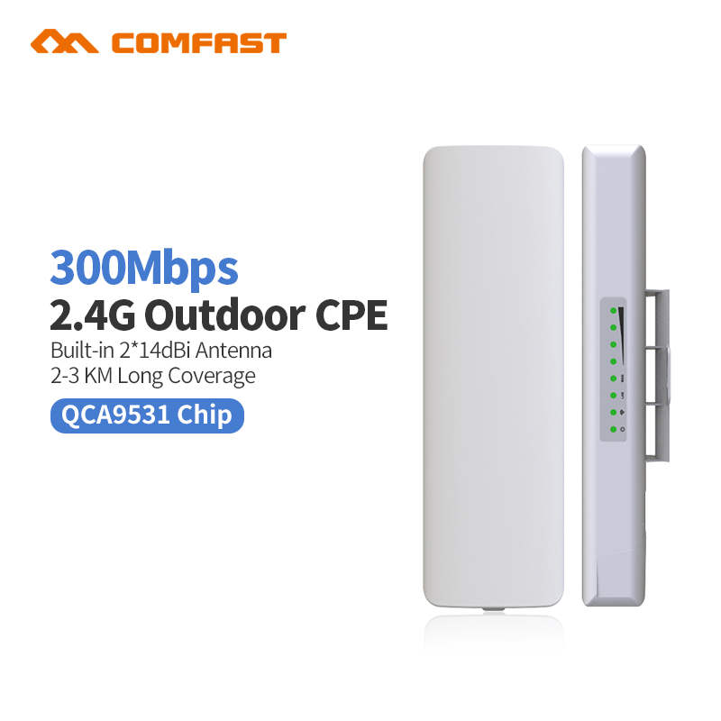 Comfast CF-E314 2.4G outdoor CPE bridge 300M long range Signal Booster extender 3km Wireless AP 2*14dbi wifi repeater nanostatio comfast 2 4ghz outdoor cpe bridge 150mbps long range signal booster extender 2 3km wireless ap 14dbi outdoor wifi repeater