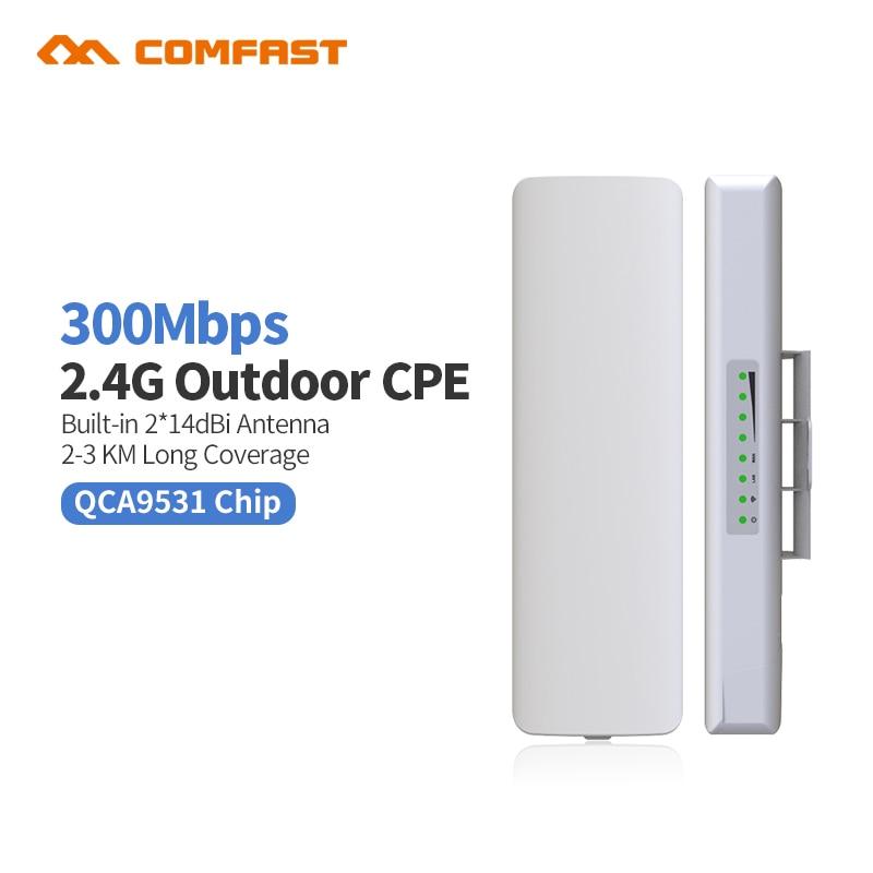 Comfast CF-E314 2.4g Extérieure CPE pont 300 m Longue Portée Du Signal Booster Extender 3 km Sans Fil AP 2 * 14dbi Wifi Répéteur Nanostatio