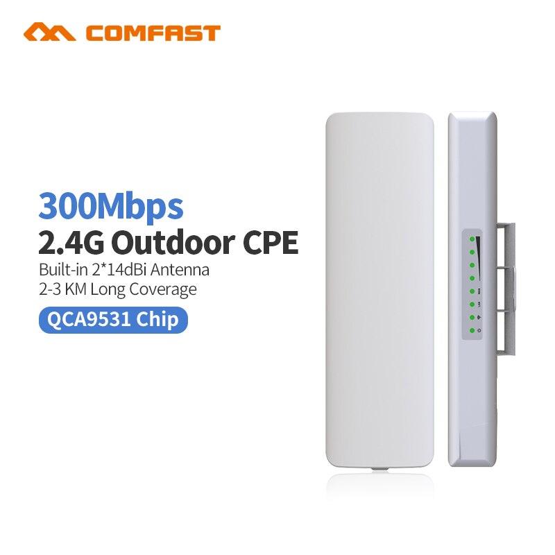 Comfast CF-E314NV2 Extérieure CPE pont 300 m Longue Portée Du Signal Booster Extender 3 km Sans Fil AP 2 * 14dbi Wifi répéteur Nanostatio