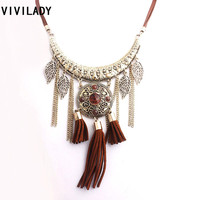 2015 New Metal Pendant Tassel Chain Leaf Charms Necklace Women Bohemia Rope Zinc Alloy Vintage Resin