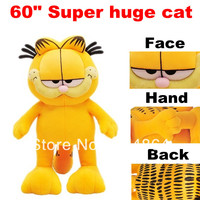 Factory price 60inch Super huge cat 160cm big cat with PP cotton plush toy yellow color Garfield cat Free shipping by Fedex