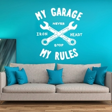 Quote Vinyl Wall Decal Art Sticker Home Decor Mural My Garage RulesPoster Removebale Poster W101