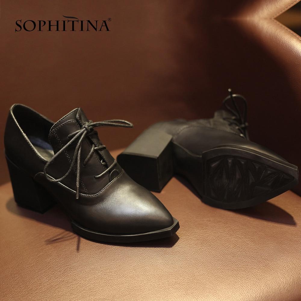 Sophitina 성숙한 여성용 펌프 정품 가죽 패션 크로스 묶인 지적 발가락 신발 편안한 스퀘어 힐 캐주얼 펌프 mo39-에서여성용 펌프부터 신발 의  그룹 3