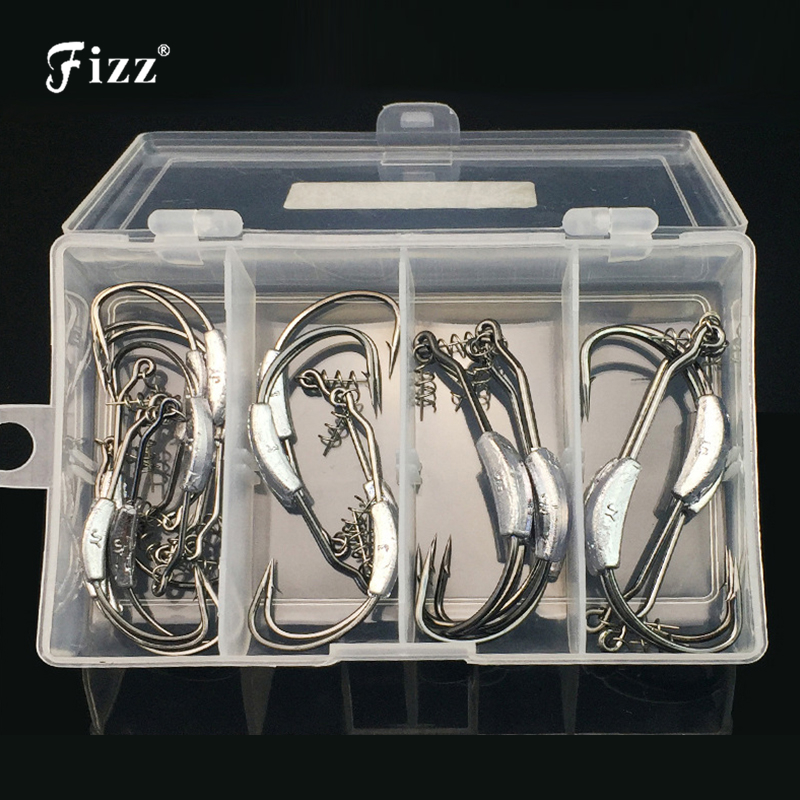 25 Pcs/box Barbed Lead Offset Fishing Fishhooks with Soft Worm Spring Lock Pin Fishing Hooks Fishing Accessories Tackle Box