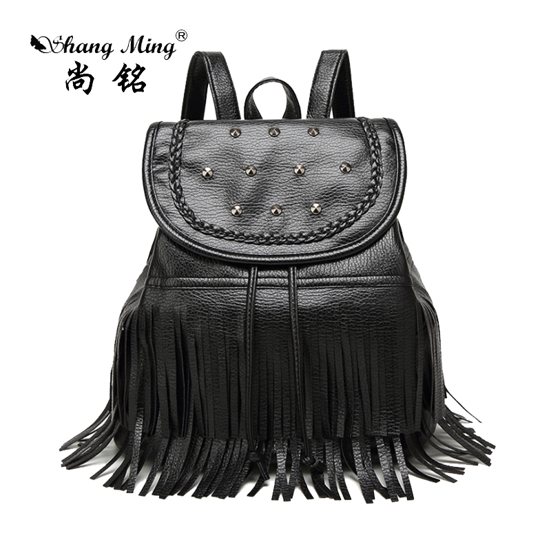 ShangMing 2017 Women Concise Backpack Student s Black Tassels Bags High Quality PU Bags Rivet Decor