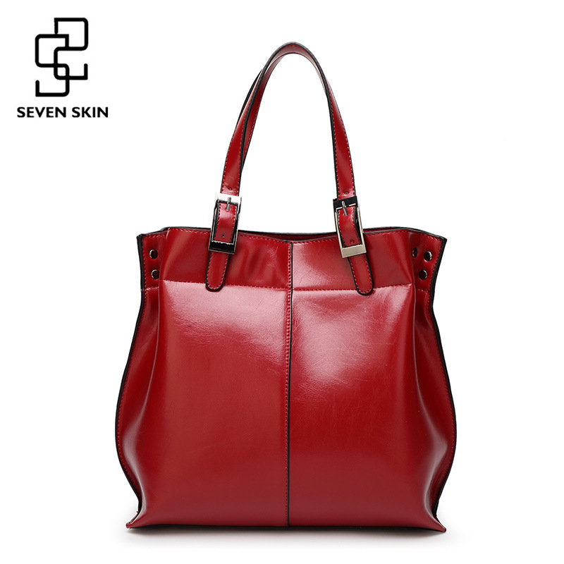 SEVEN SKIN Famous Brands Women Bucket Bag Shoulder Bags Luxury Handbags Solid Leather Tote Fashion Designer Top Handle Bag 2017 seven skin famous brands handbags women pu leather bag large casual tote bags 2017 sac new fashion luxury messenger bags bolsas