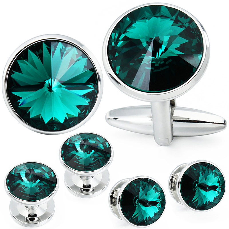 HAWSON Cufflink and Studs Tuxedo Set Silver Color with Swarovski Crystals in Jet Hematite, Dark Blue, Crystal Grey,Purple, Green